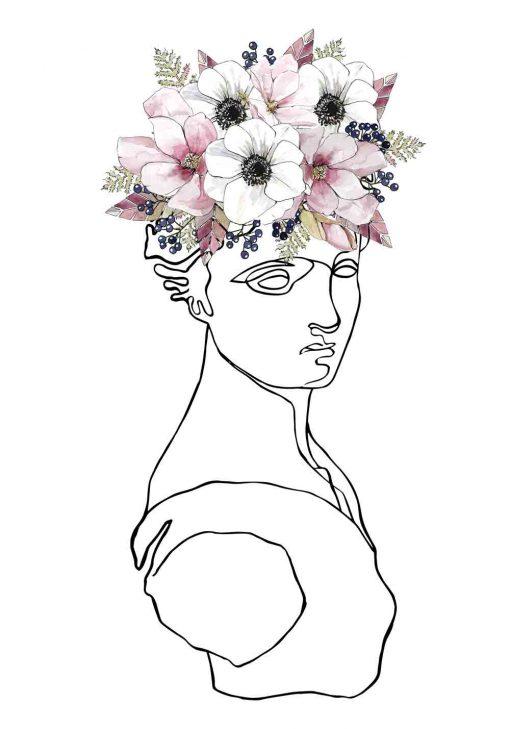 Papierowa dekoracja w ramie ze szkicem kobiety i kwiatów