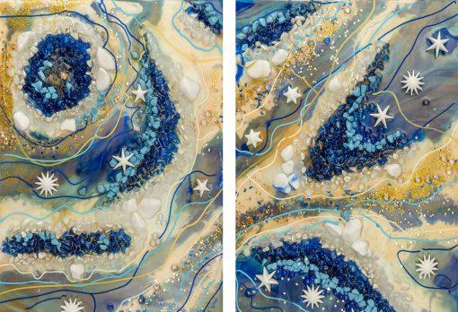 dwa obrazy zestaw abstrakcyjnych motywów ewa m. turowski