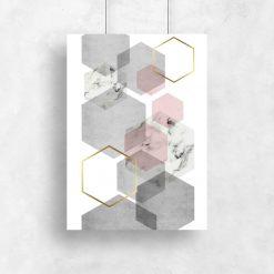 plakat z marmurowymi sześciokątami