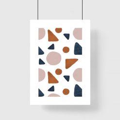 Plakat w ramie z motywem geometrycznych brył