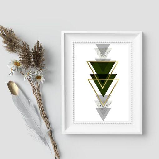 plakat z zielonymi trójkątami