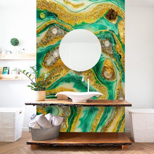 Fototapeta geode z kryształami w łazience aranżacja ściany