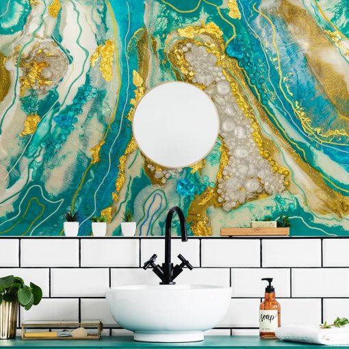 Inspiracja do łazienki z motywem abstrakcyjnym