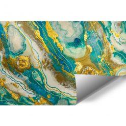 fototapeta geode art abstrakcja turkusowo złota