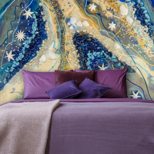 sypialnia z dekoracja ściany żywica epoksydowa fototapeta
