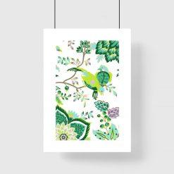 Plakat z ptakami w kolorystyce zieleni