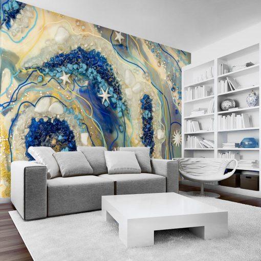 obraz żywicy niebieski i bezowy reprodukcja na ścianę