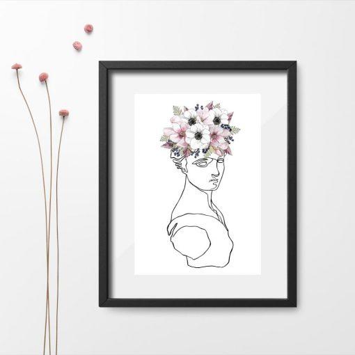 Popiersie w kwiatach na plakcie