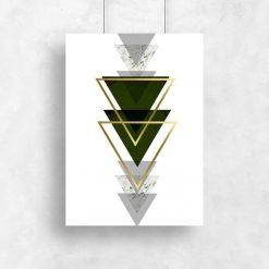 plakat z motywem trójkątów