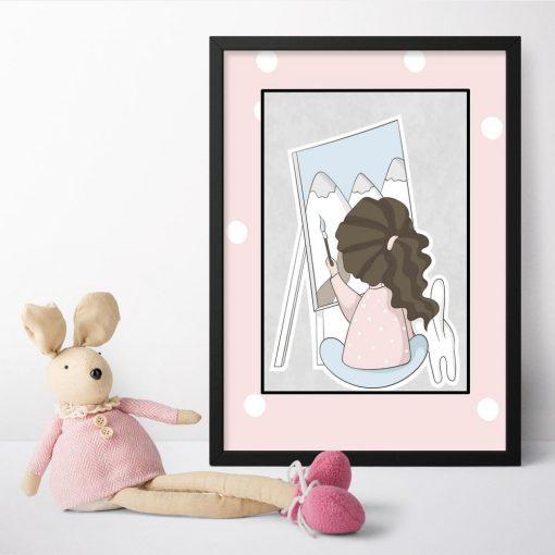 Plakat do pokoju dziecka z malującą dziewczynką