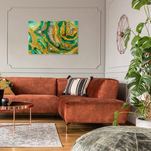 obraz idealny do salonu z motywem abstrakcyjnym żółto zielony