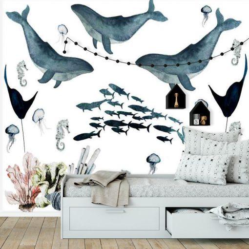 Fototapeta dziecięca wieloryby i ławica ryb
