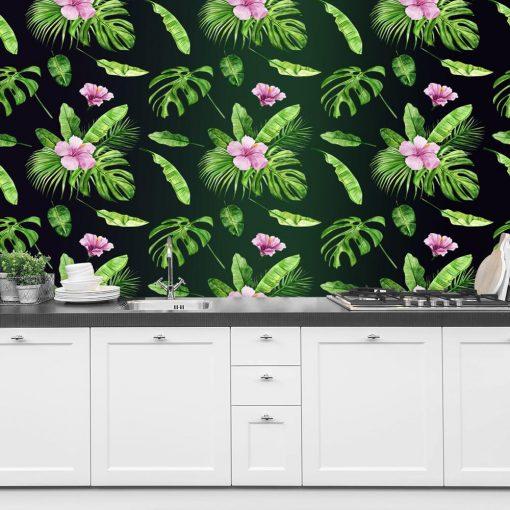 foto-tapeta z zielono-różo wym kwiatowym motywem