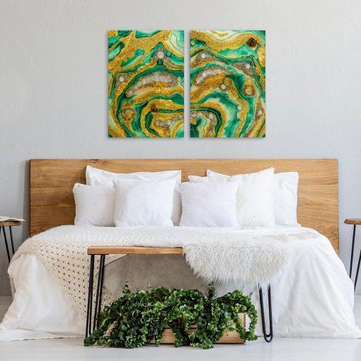 Dyptyk do sypialni zielono żółta abstrakcja geode art z mazajami