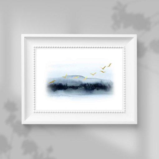 Plakat - Gromada lecących ptaków do salonu