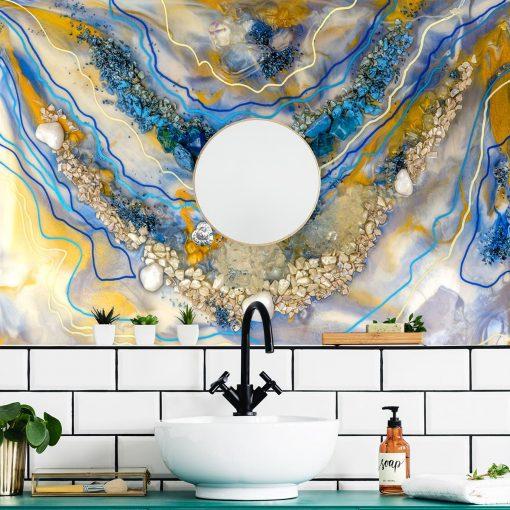 Fototapeta do łazienki sztuka żywiczna abstrakcja z mazajami i elementami złota