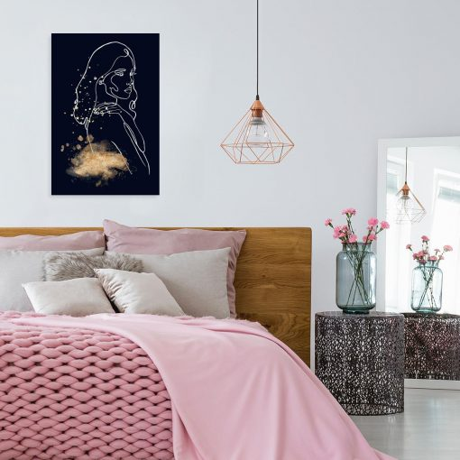 Obraz z grafiką line art do sypialni