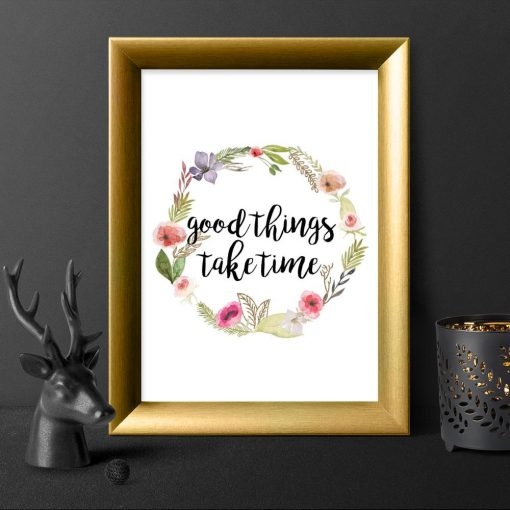 plakat do sypialni z typografią: Good things, take time