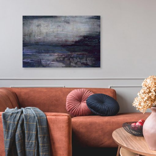obraz z fioletowo-niebieską abstrakcją do salonu