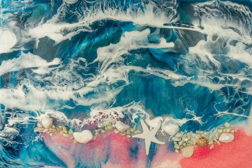 fototapeta kompozycja malarska żywicą resin sea morska rozgwiazda