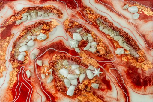 fototapeta sztuka żywiczna abstrakcja czerwona z kamykami