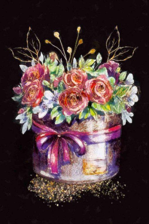 Obraz z motywem kwiatów w pudełku