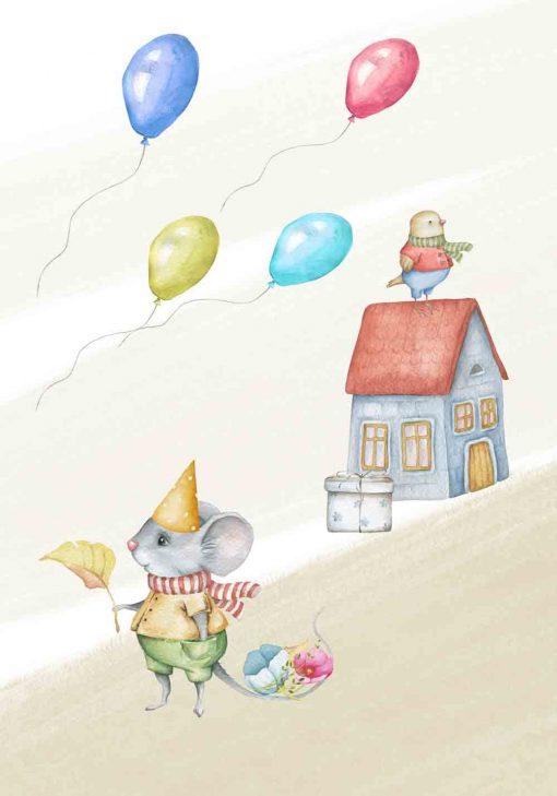 Plakat dziecięcy - Urodzinowa myszka