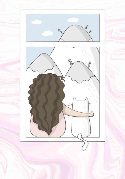 Plakat dla dziecka z dziewczynką i kotkiem