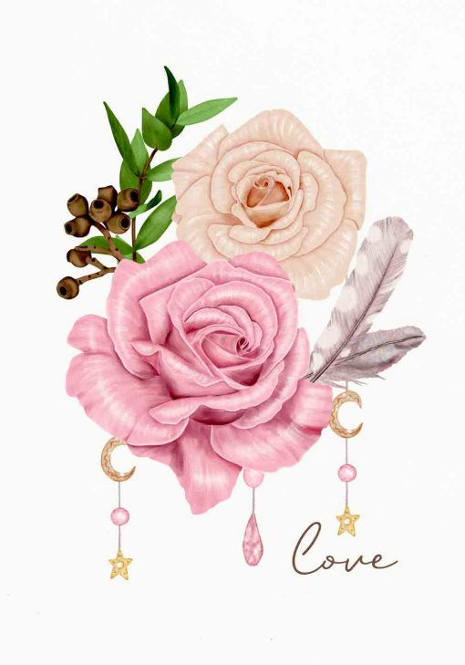 plakat z jasnymi różami i piórkiem