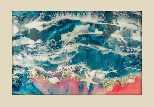 Poziomy plakat resin art - Różowa plaża