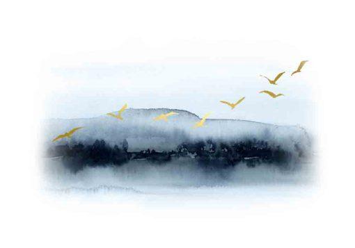 Plakat z gromadą ptaków