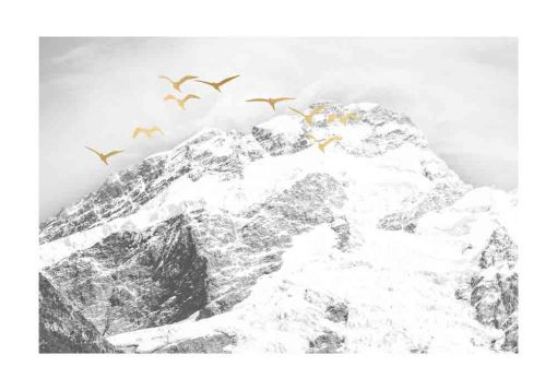 Plakat z mroźnymi górami