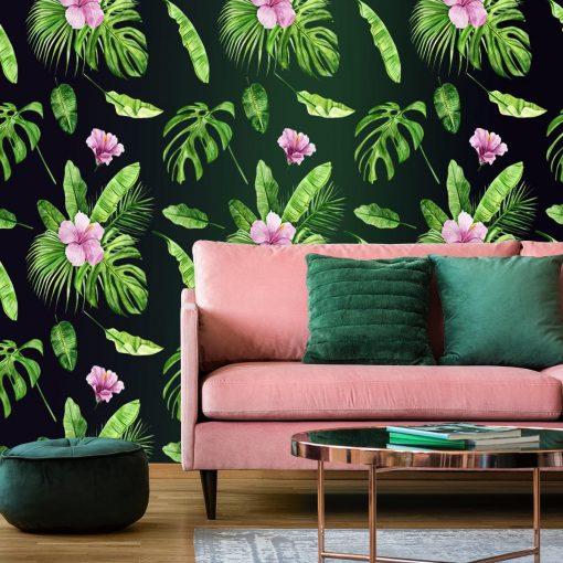 fototapeta do sypialni z egzotyczną rośliną