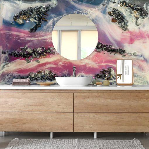 Fototapeta do łazienki różowo niebieska abstrakcja z kamieniami