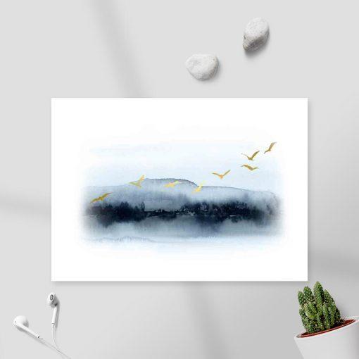 Plakat - Gromada lecących ptaków do biura