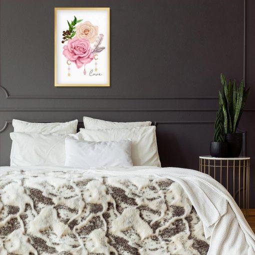 bladoróżowe róże na plakacie