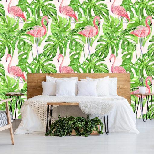 różowo-zielona fototapeta z flamingami