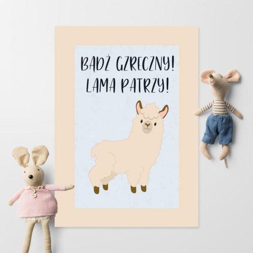 Plakat do pokoju dziecka z motywem lamy