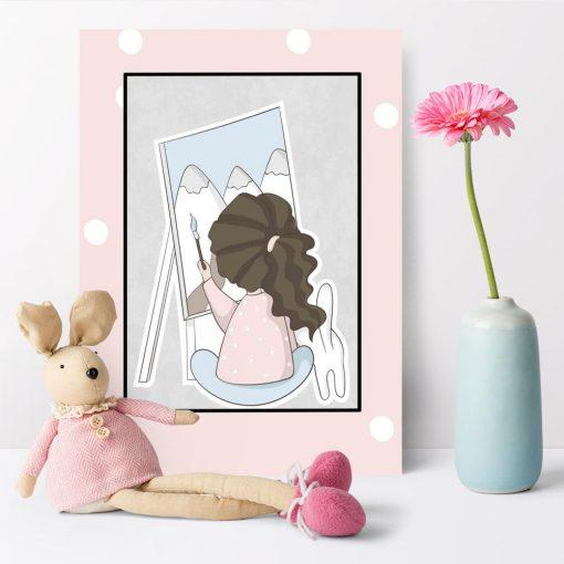Plakat dziecięcy z malującą dziewczynką