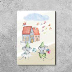 Obraz dziecięcy z zakochanymi myszkami