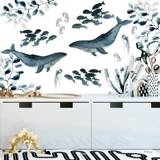 Fototapeta wieloryby na ścianę pokoju dziecka
