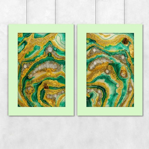 Plakat dyptyk przedstawiający zieloną abstrakcje