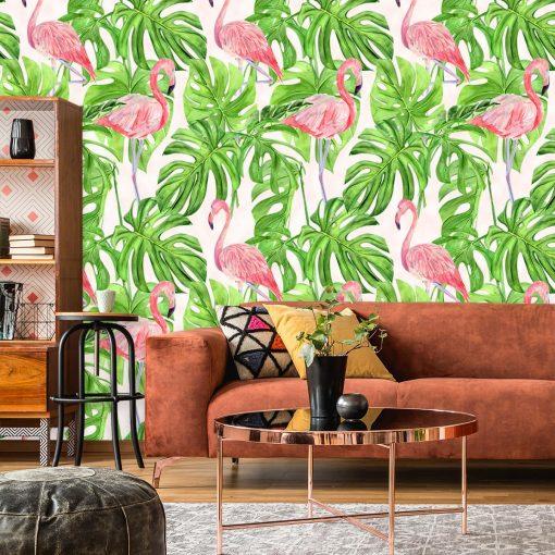 tropikalne rośliny na fototapecie w kolorze różowo-zielonym