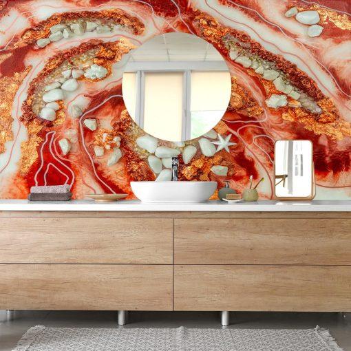 fototapeta do łazieki dekoracja z żywicy abstrakcyjny motyw pomarańczowy biały
