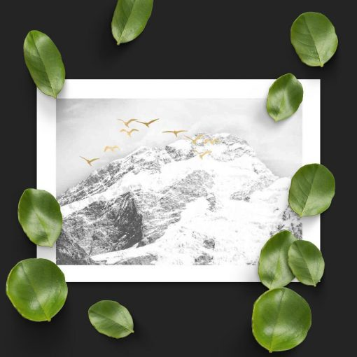 Plakat z górami i ptakami