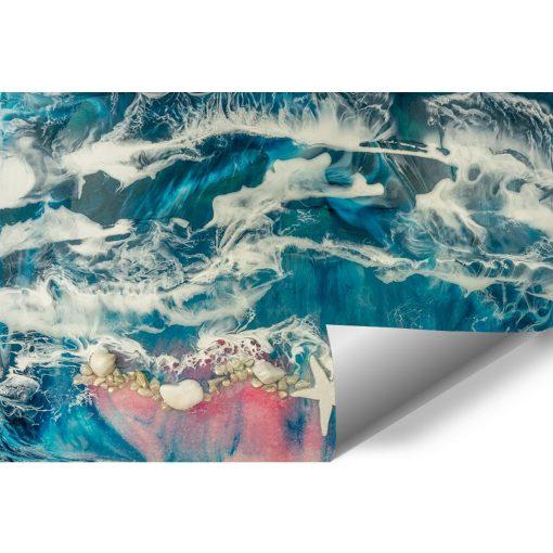 fototapeta morski motyw sztuka żywiczna róż niebieski biały rozgwiazda