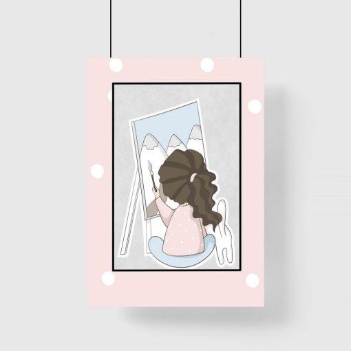 Plakat dziecięcy - Dziewczynka malująca góry