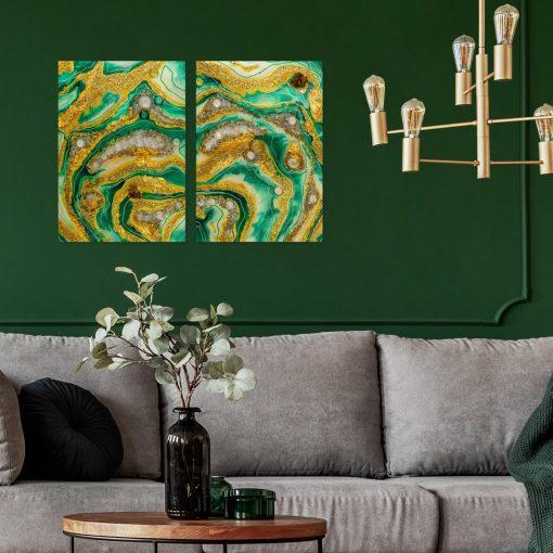 Obraz dyptyk do salonu malarstwo żywicą z abstrakcją i kamieniami