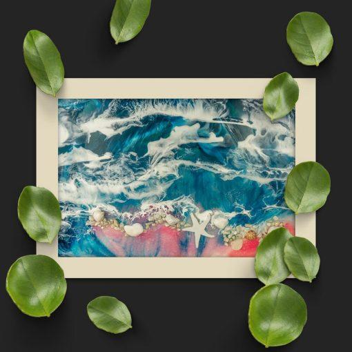 Poziomy plakat - Różowa plaża i morza