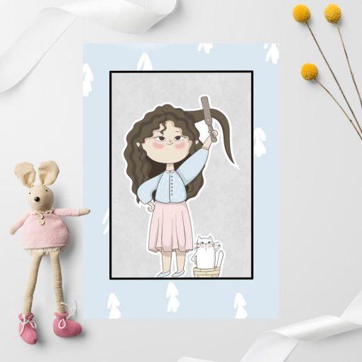 Plakat dla dzieci - Przygotowania dziewczynki i kota